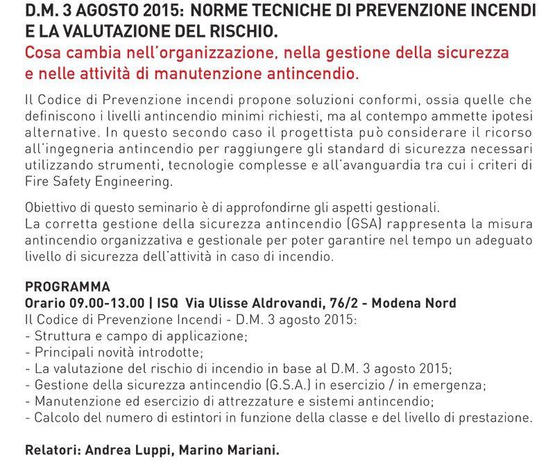 Seminario a Modena il 16 Maggio 2017: il codice di prevenzione incendi